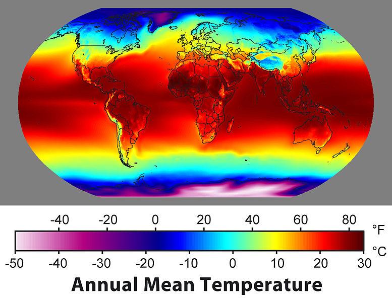 Фрагмент от карта на средногодишните температури