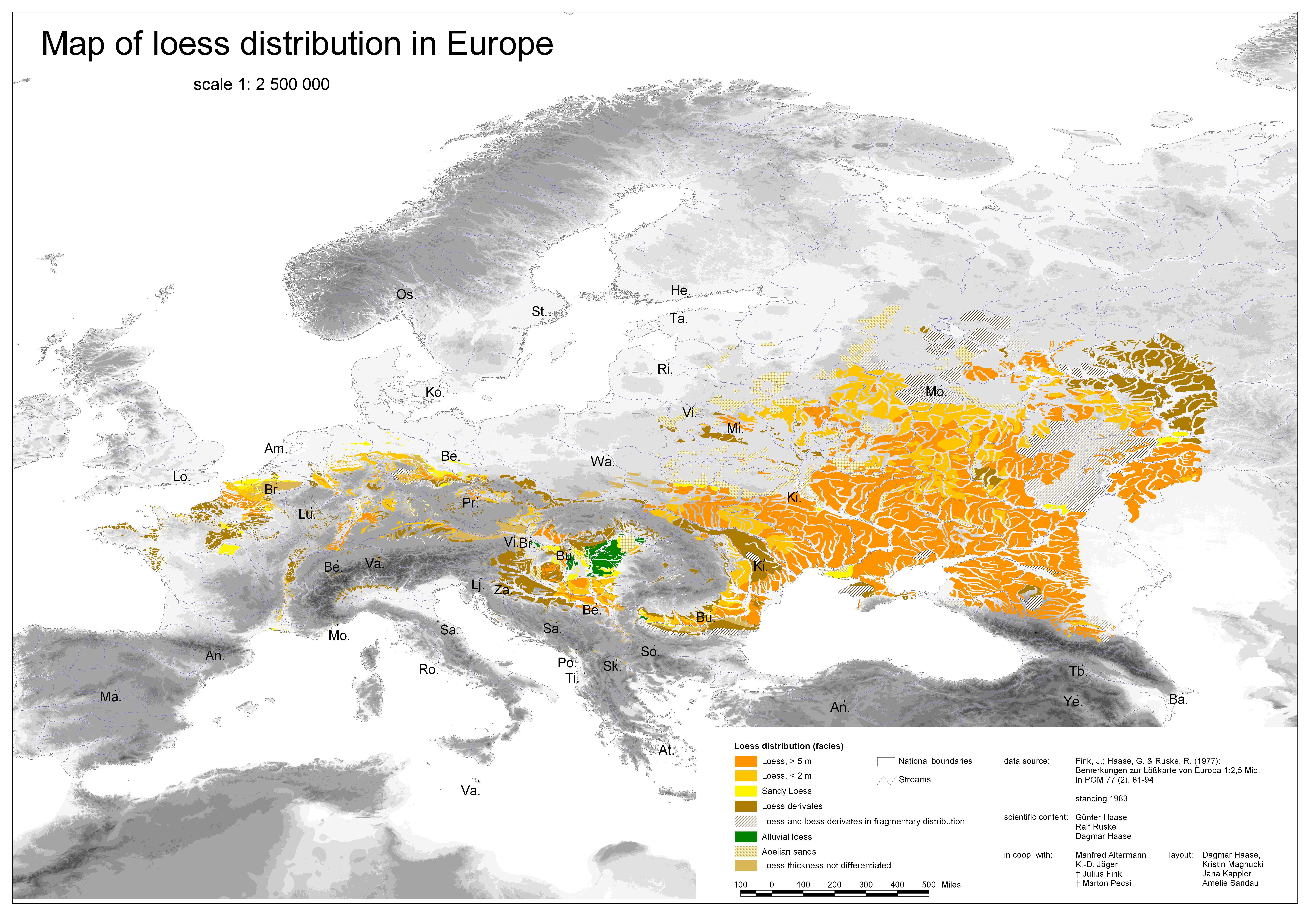 Льосова карта на Европа