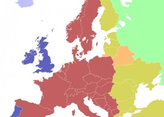 Часовите зони в Европа. Източник: Уикипедия, автор maix